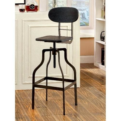 Benzara Industrial Style Wooden Swivel Bar Stool BM119852