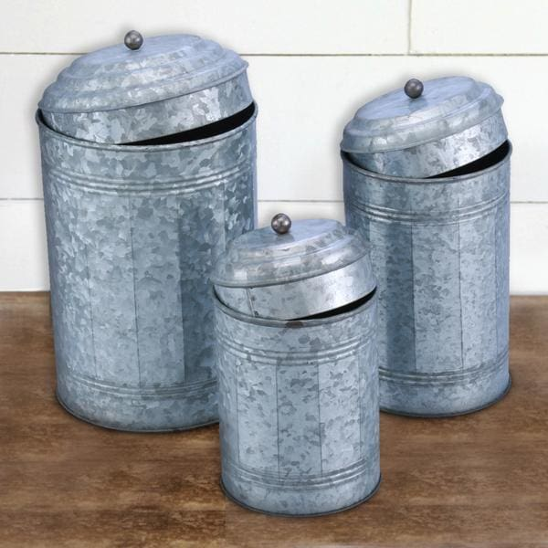 Benzara BM120150 Rustic Metal Galvanized Canisters Set of 3 - Home & Garden > Decor > Decorative Jars