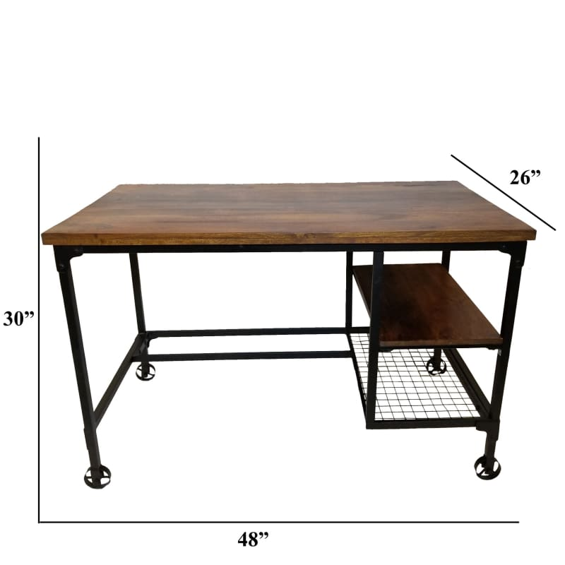 Industrial Design Wooden Desk With 2 Bottom Shelves Brown And Black