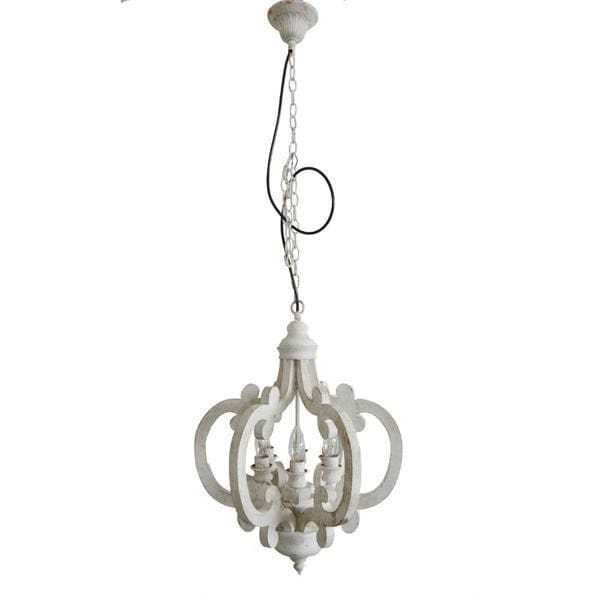 Antiqued Wood And Metal Chandelier White