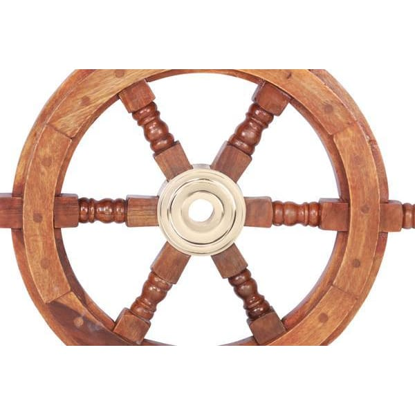 Nautical Sheesham Wood and Brass Ship Wheel Wall Art BM34832