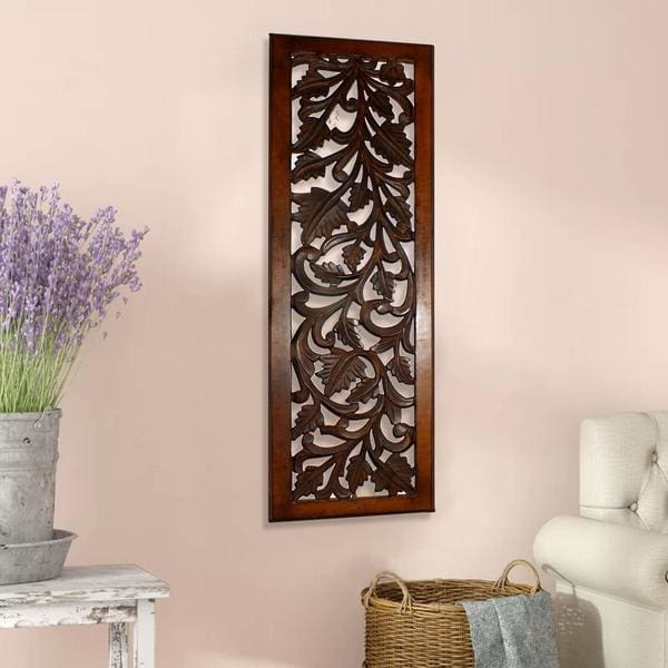 "Benzara Brown 36""H Wooden Wall Panel w/ Leaves BM80949"