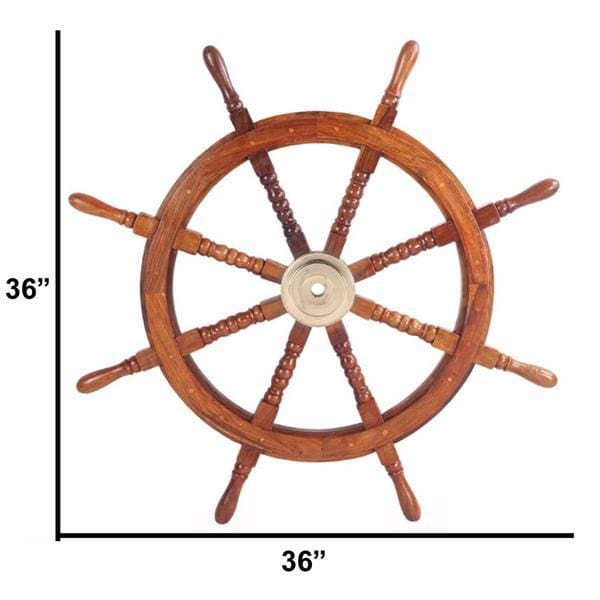 "Benzara Nautical Sheesham Wood 36""D Ship Wheel BM34836"