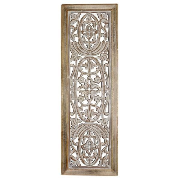 Benzara Rectangular White and Brown Mango Wood Wall Panel BM01908