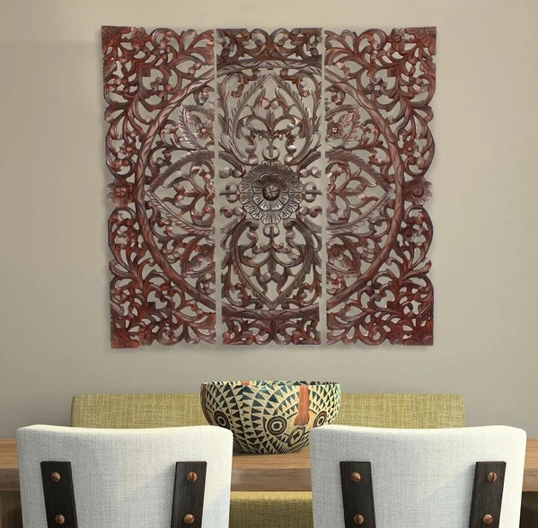 Benzara BM00067 Three Piece Wooden Wall Panel Set Brown