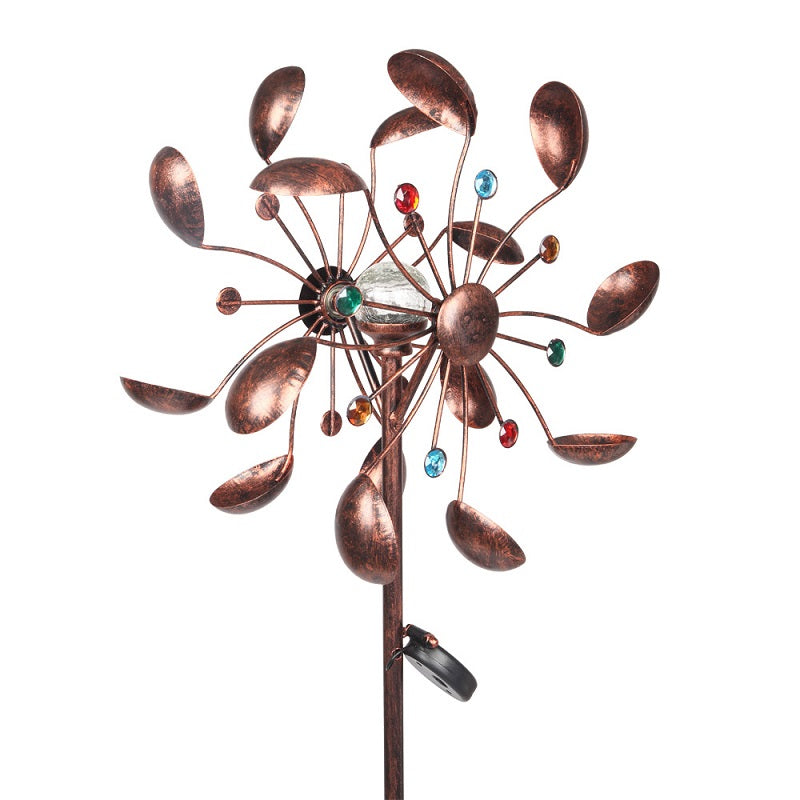 Solar Powered Multi-Color Jeweled Outdoor Wind Spinner