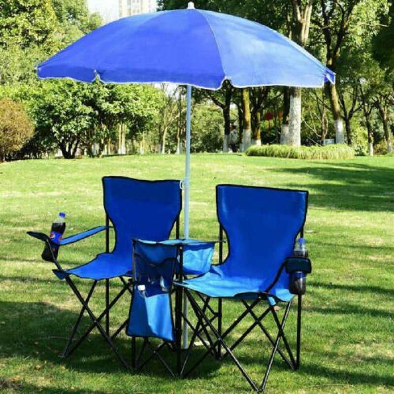 2 Seat Folding Chair with Removable Sun Umbrella Blue
