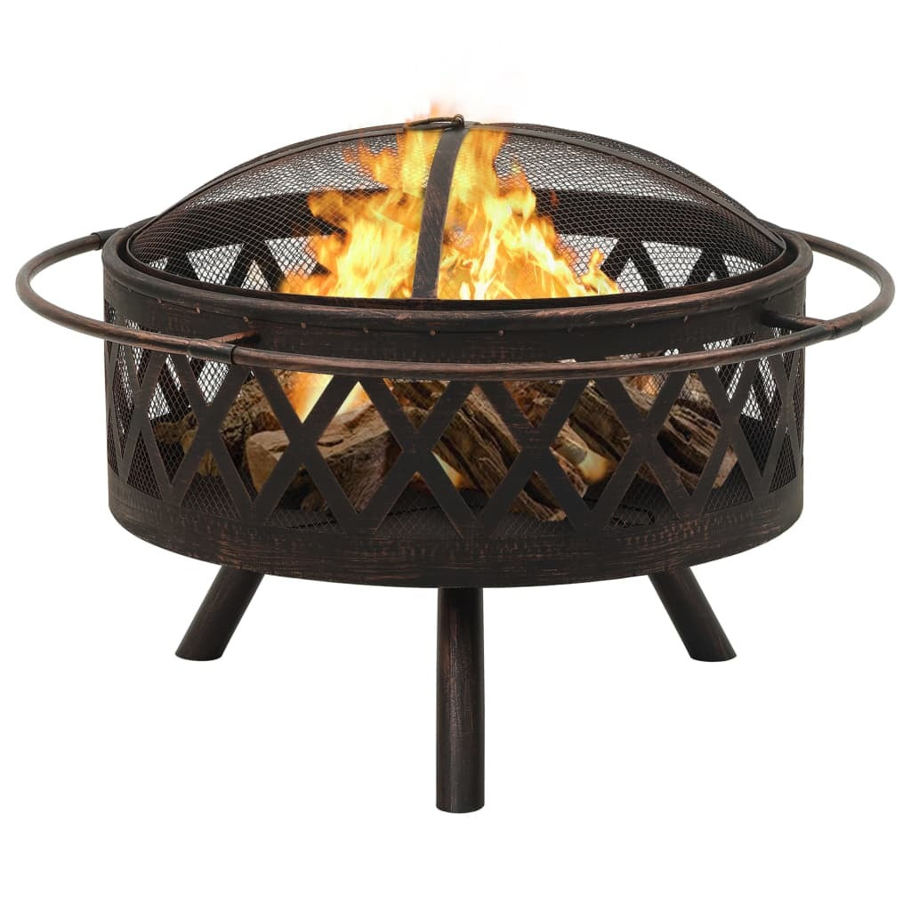 "Rustic Style 29.9""Fire Pit with Poker and Cover"