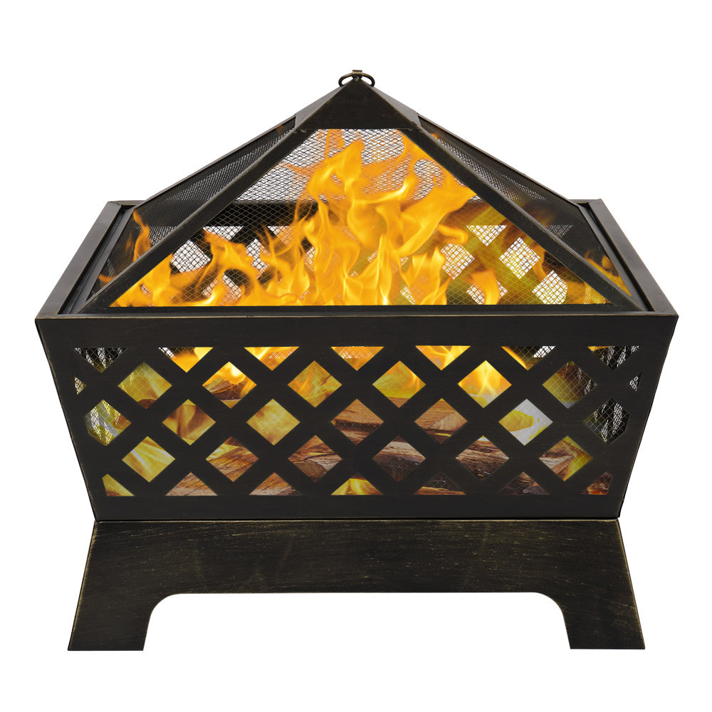 Steel Bowl Fire Pit with Cross-Hatch Pattern and Cover 26""