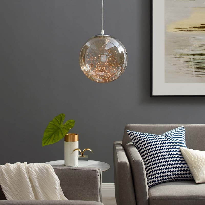 "EEI-2926 Fairy 8"" Amber Glass Globe Ceiling Light Pendant Chandelier EEI-2926"