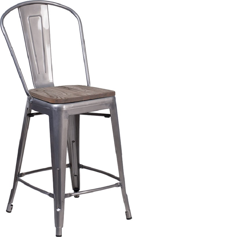 "Flash 24"" High Bistro Style Counter Height Stool w/ Back and Wood Seat"