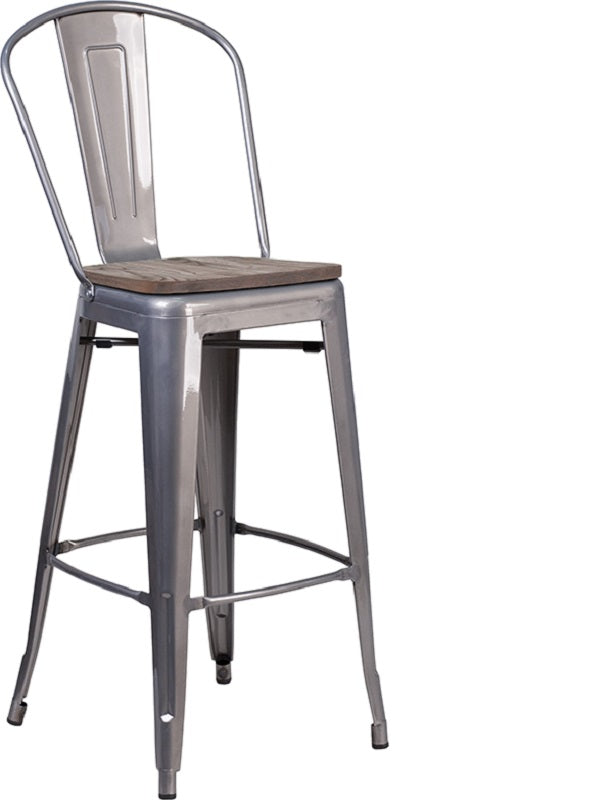"Flash Furniture 30"" High Clear Coated Barstool with Back and Wood Seat"