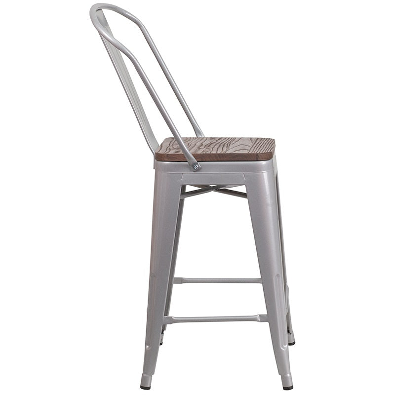 "Flash 24"" High Silver Metal Counter Height Stool w/ Back and Wood Seat"