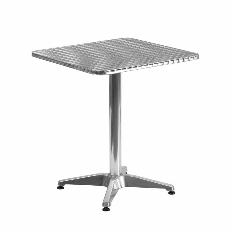 Flash 23.5'' Square Aluminum Table with Base TLH-053-1-GG