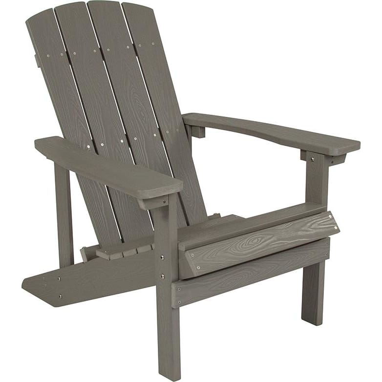 Flash Charlestown All-Weather Adirondack Chair Faux Wood Light Gray