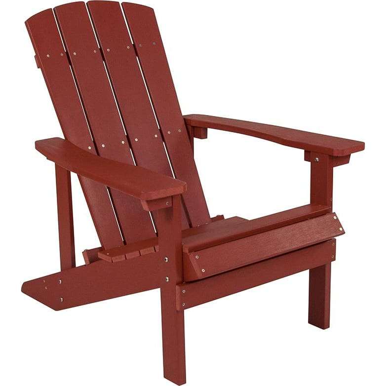 Flash Charlestown All-Weather Adirondack Chair Faux Wood REd