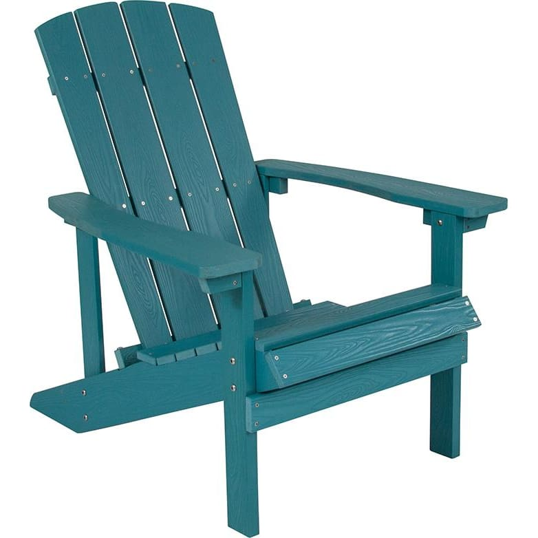 Flash Charlestown All-Weather Adirondack Chair Faux Wood Sea Foam