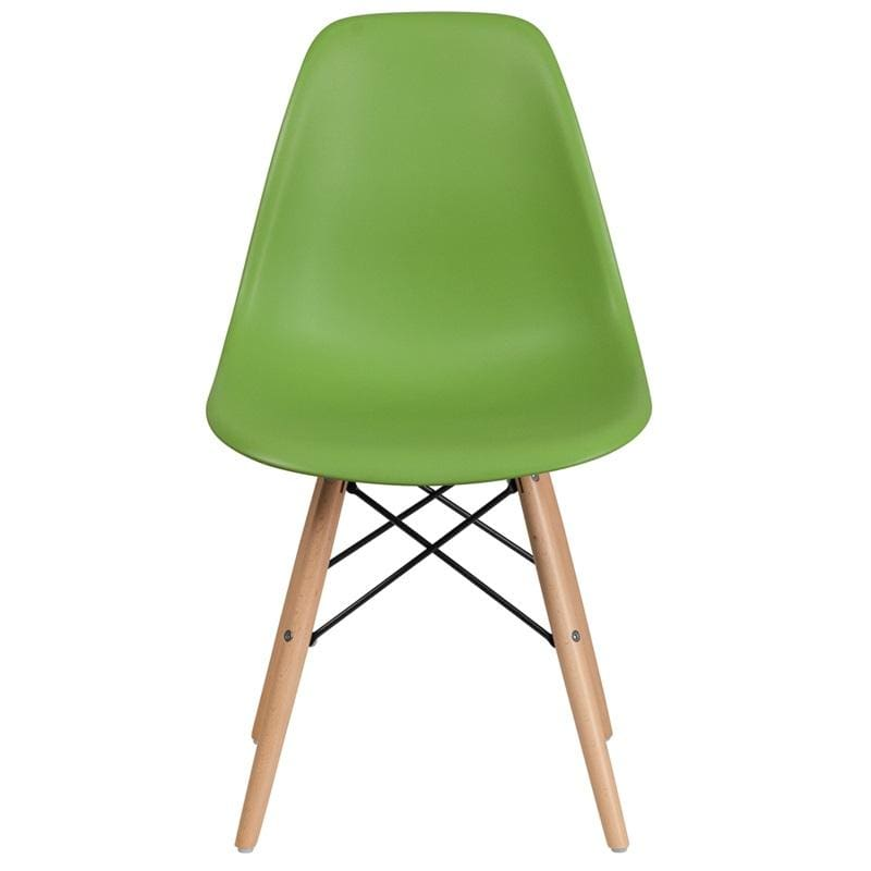 Flash Elon Series Plastic Chair w/ Wooden Legs FH-130-DPP - Green - Furniture > Chairs > Kitchen & Dining Room Chairs
