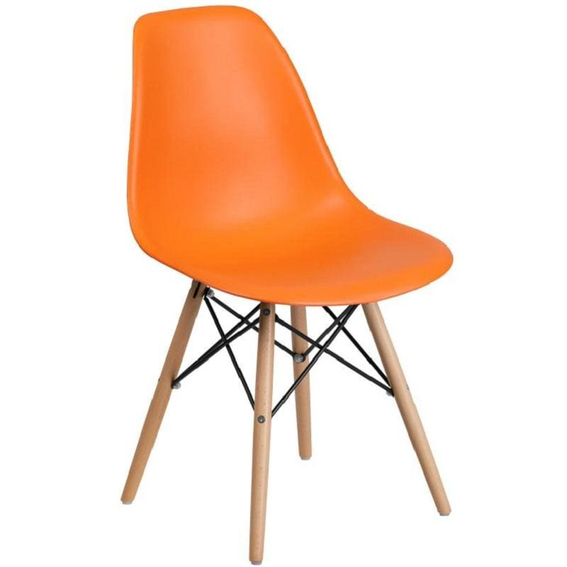 Flash Elon Series Black Plastic Chair w/ Wooden Legs FH-130-DPP