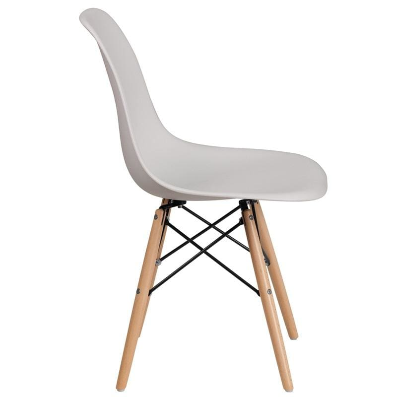 Flash Elon Series Plastic Chair w/ Wooden Legs FH-130-DPP - White - Furniture > Chairs > Kitchen & Dining Room Chairs