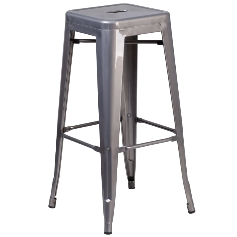 Flash Furniture 30'' Backless Metal Indoor Barstool w/ Square Seat
