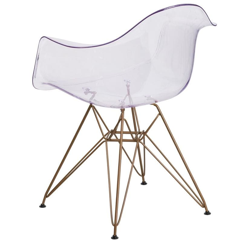 Flash Furniture Alonza Transparent Side Chair w/ Gold Base FH-132-CPC1-GG