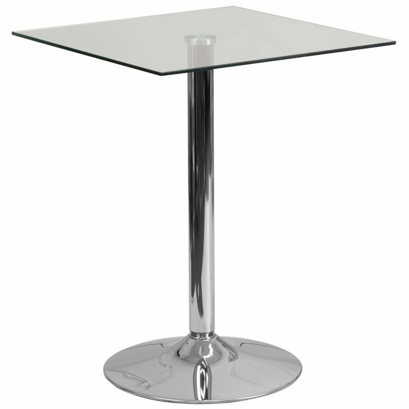 Flash Furniture, Flash Furniture CH-4-GG 23.75'' Square Glass Table Chrome Base,
