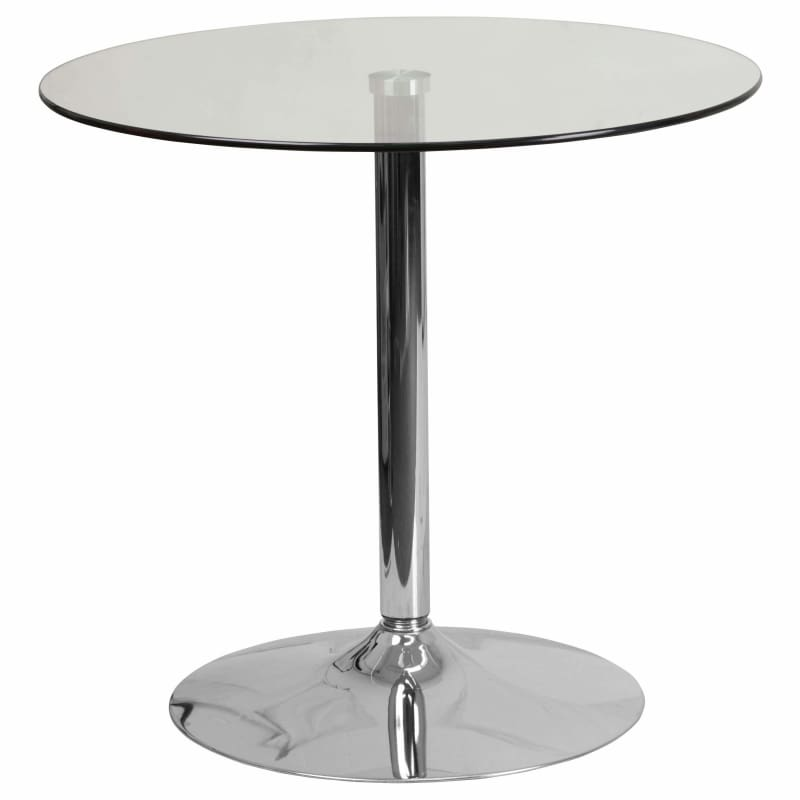 Flash Furniture, Flash Furniture CH-7-GG 31.5'' Round Glass Table with Chrome Base,