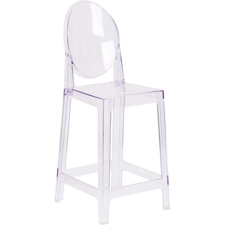 Flash Furniture Ghost Counter Stool with Oval Back OW-GHOSTBACK-24-GG