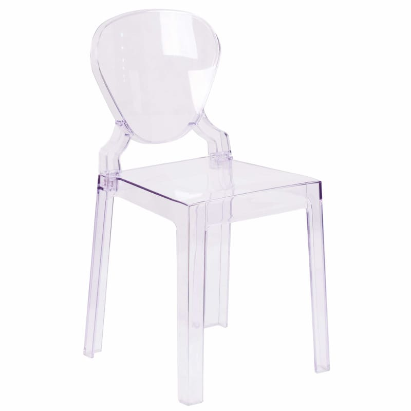 Flash Furniture, Flash 2 Pack Ghost Chair in Transparent Crystal with Tear Back,