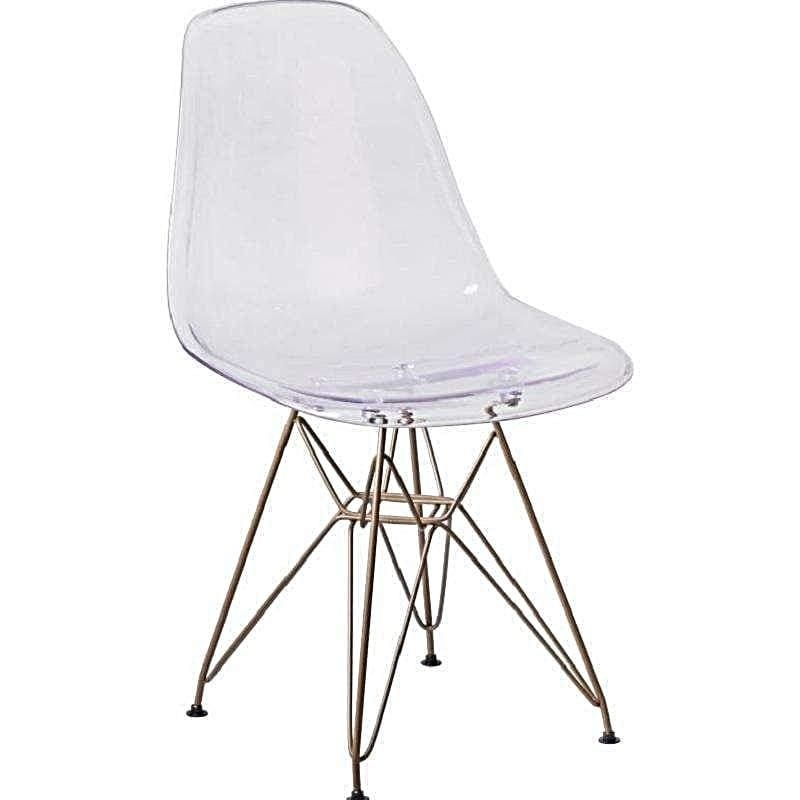 Flash Furniture, Elon Series Ghost Chair with Gold Metal Base FH-130-CPC1-GG,