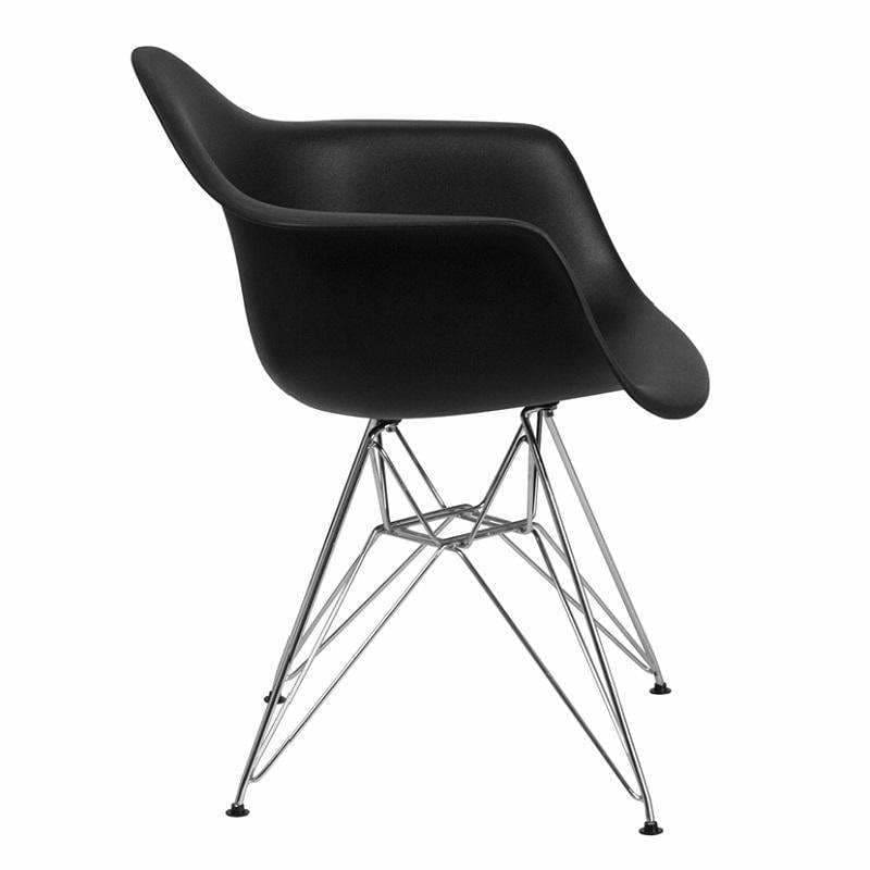 Flash Furniture Alonza Series Plastic Chair with Chrome Base FH-132-CPP1 Black