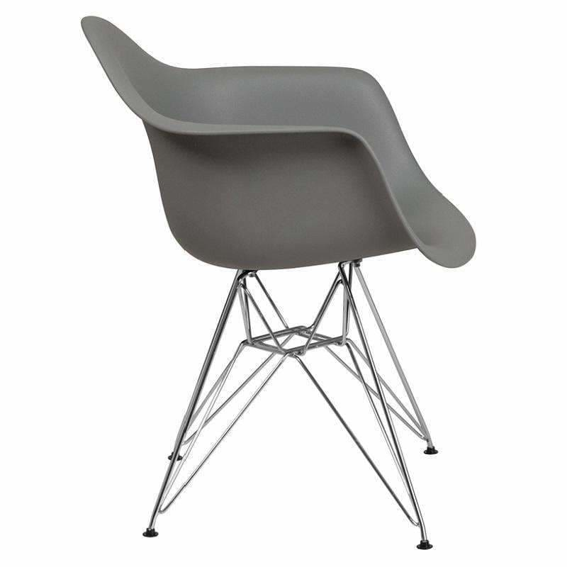 Flash Furniture, Alonza Series Plastic Chair with Chrome Base FH-132-CPP1 Gray