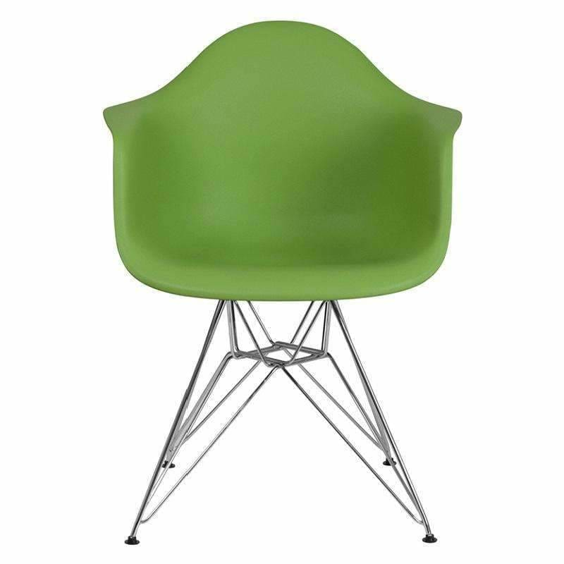 Flash Furniture FH-132-CPP1 Alonza Plastic Chair Chrome Base Green