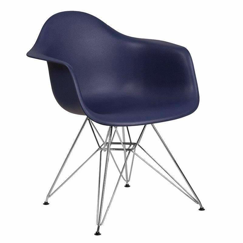 Flash Furniture FH-132-CPP1 Alonza Plastic Chair Chrome Base Navy