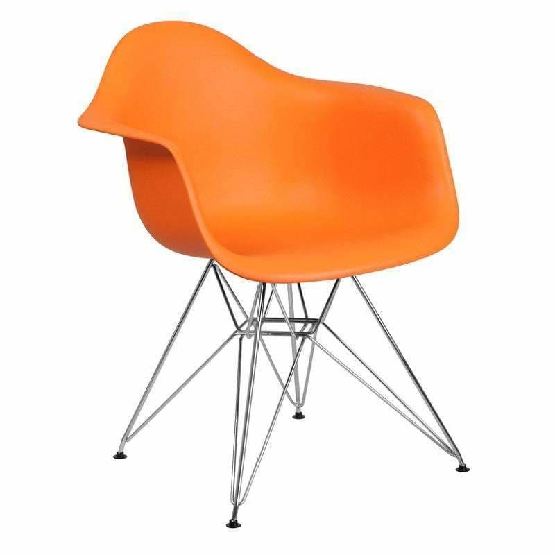 Flash Furniture FH-132-CPP1 Alonza Plastic Chair Chrome Base Orange