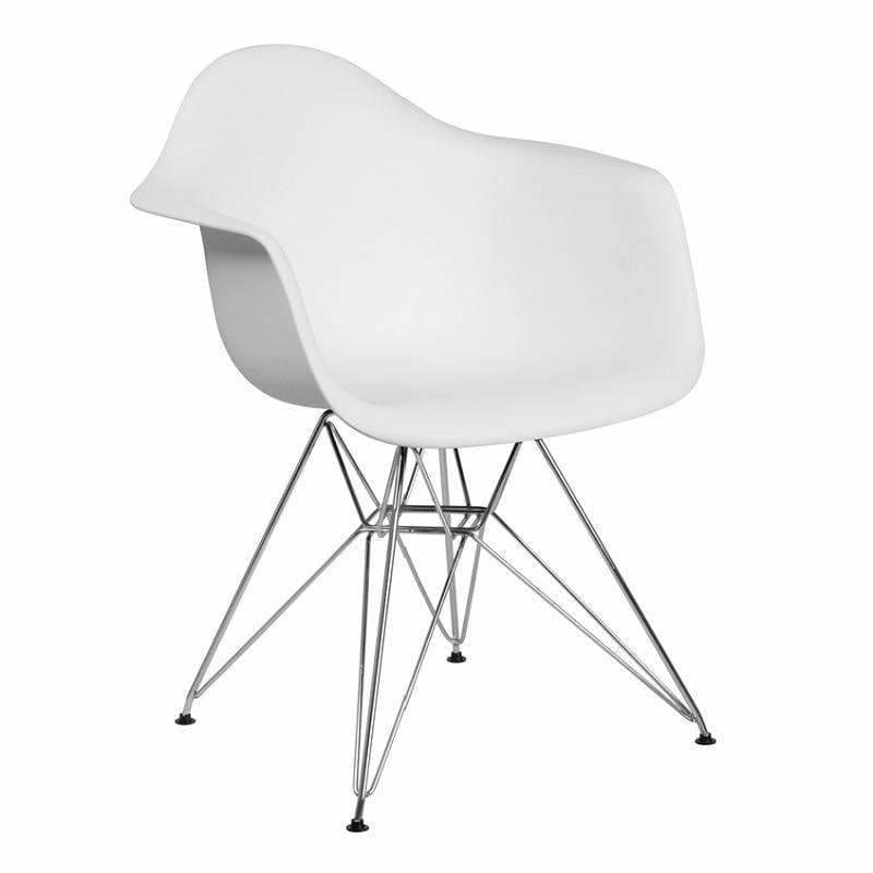 Flash Furniture FH-132-CPP1 Alonza Plastic Chair Chrome Base White