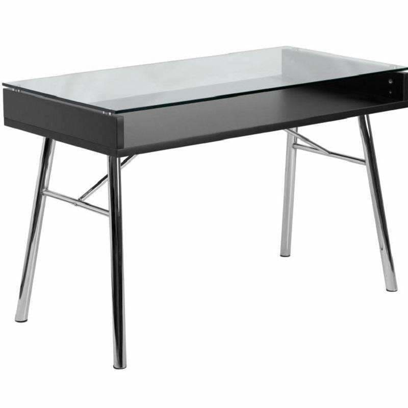 Flash Furniture, Flash Furniture NAN-JN-2966-GG Black Computer Desk Glass Top,