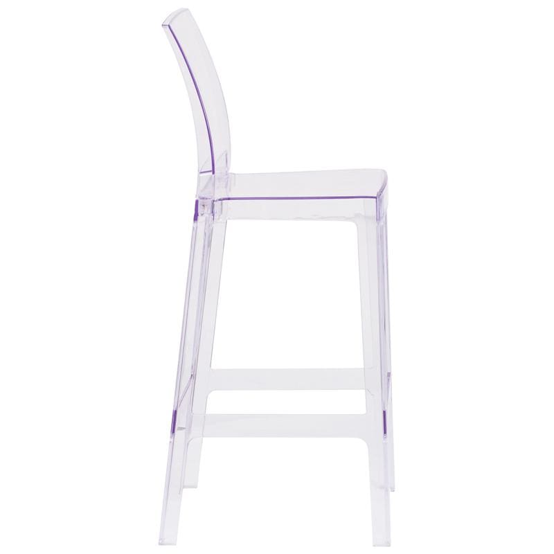 Flash Ghost Barstool in Transparent Crystal Square Back OW-SQUAREBACK-29