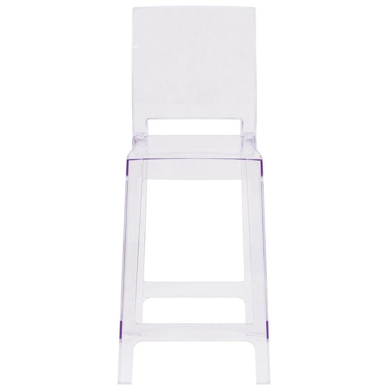 Flash Ghost Counter Stool Crystal Clear Square Back OW-SQUAREBACK-24-GG