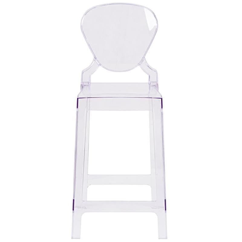 Flash Ghost Counter Stool Transparent Crystal w/ Tear Back