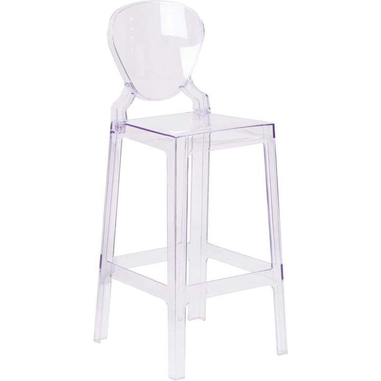Flash Ghost Barstool in Transparent Crystal with Tear Back