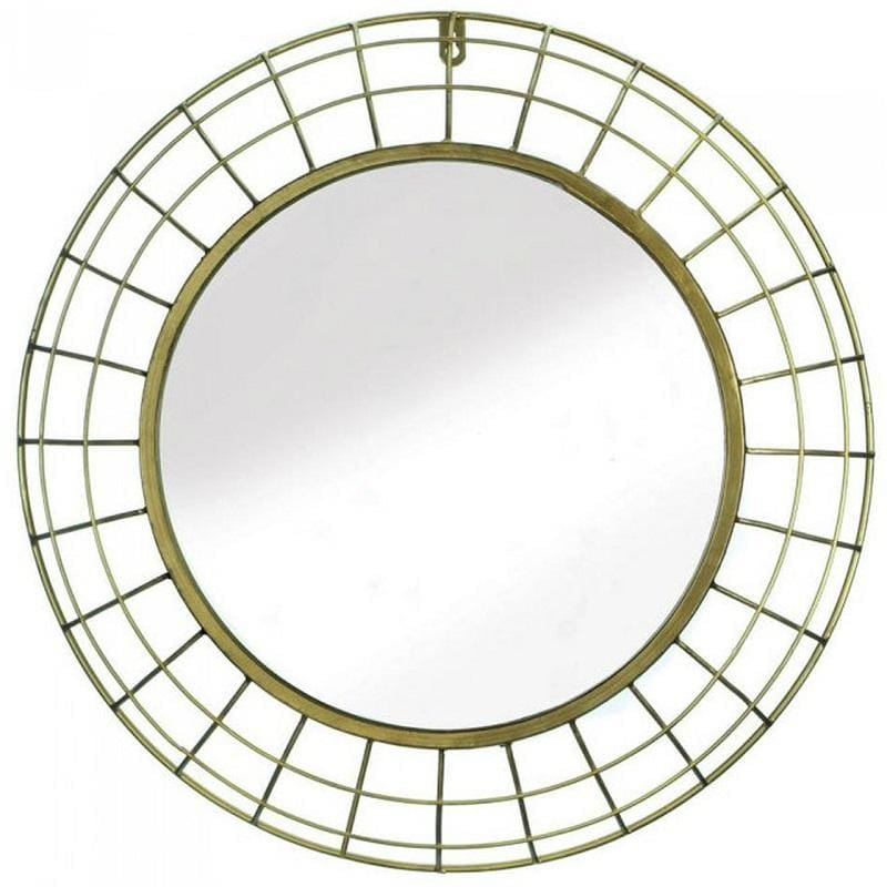 Gold Wire Dome Frame Round Wall Mirror 10018577