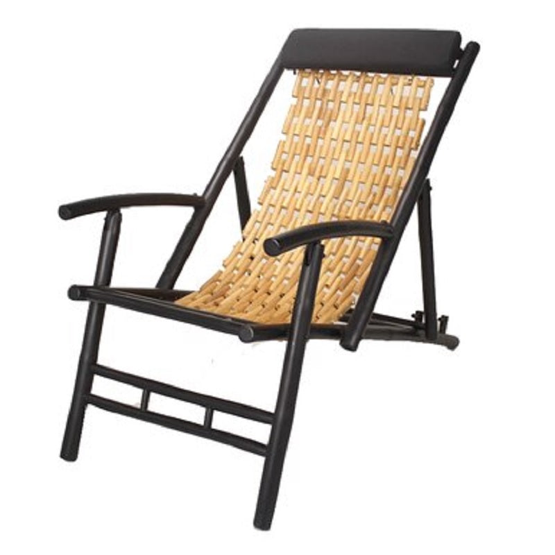 "Natural and Black Bamboo Folding Sling Chair 27.5"" - Set of 2"