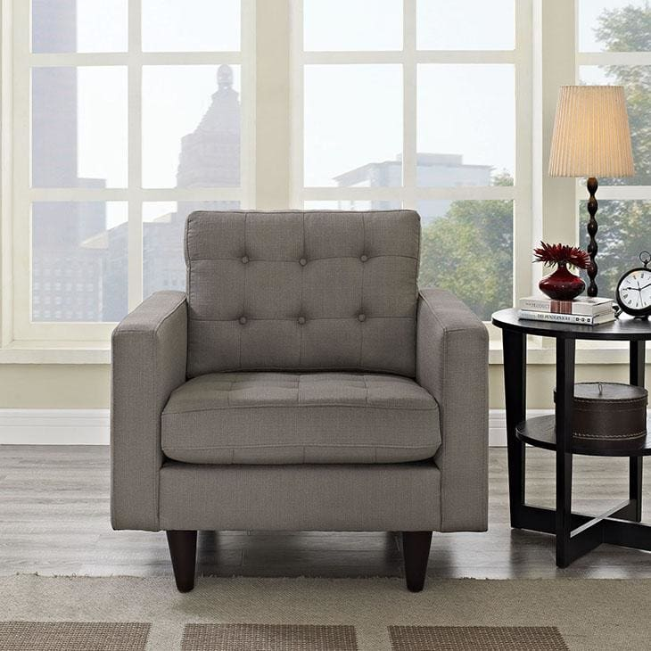 Modway Empress Upholstered Fabric Armchair Granite EEI-1013-GRA