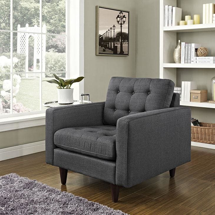 Modway Empress Upholstered Fabric Armchair Gray EEI-1013-DOR