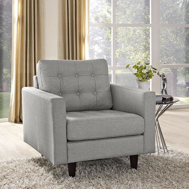 Modway Empress Upholstered Fabric Armchair Light Gray EEI-1013-LGR