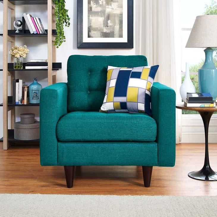 Modway Empress Upholstered Fabric Armchair Teal EEI-1013-TEA