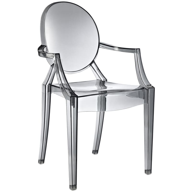 Modway Furniture Clear Dining Armchair EEI-121 Smoke