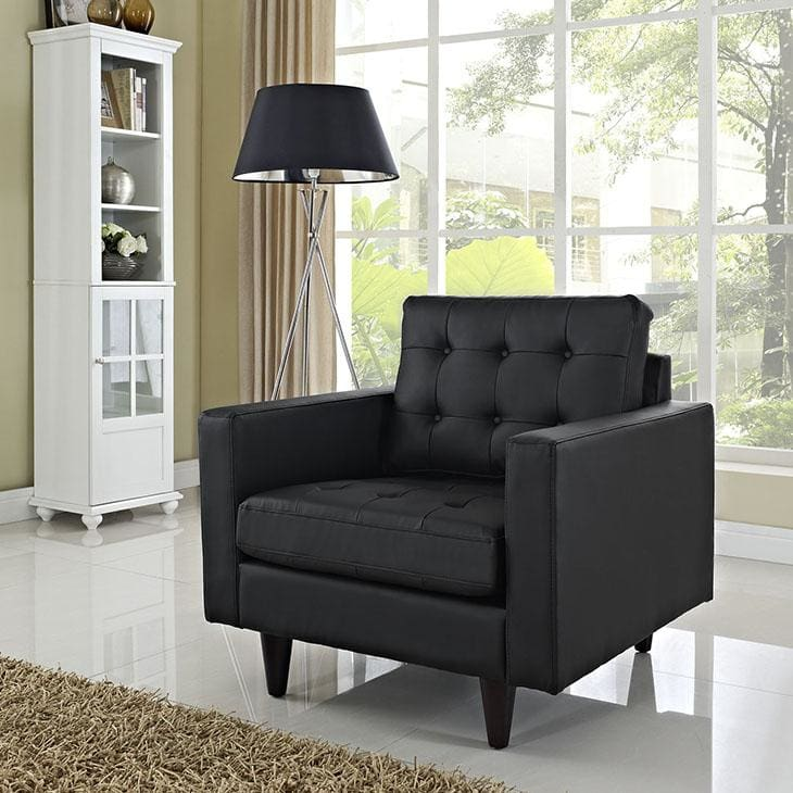 Modway Furniture Empress Bonded Leather Armchair Black EEI-1012-BLK